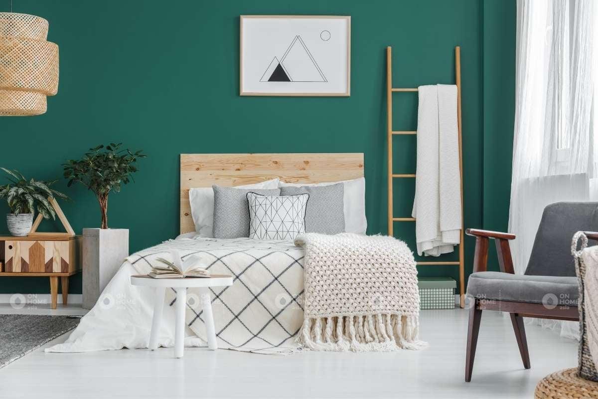 Phòng ngủ màu xanh lá đẹp