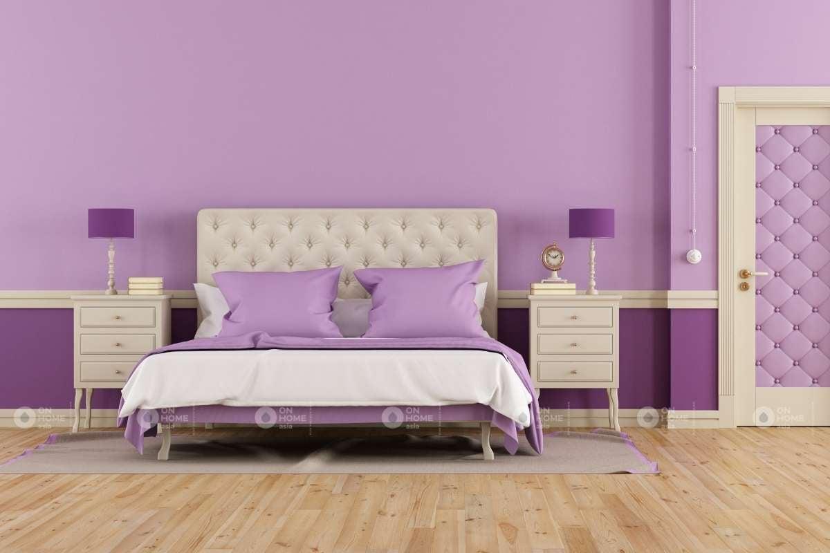 Phòng ngủ sử dụng gam màu tím trắng