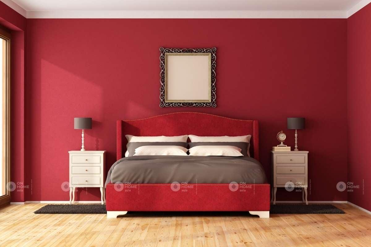 Sử dụng gam mày đỏ cho phòng ngủ hiện đại