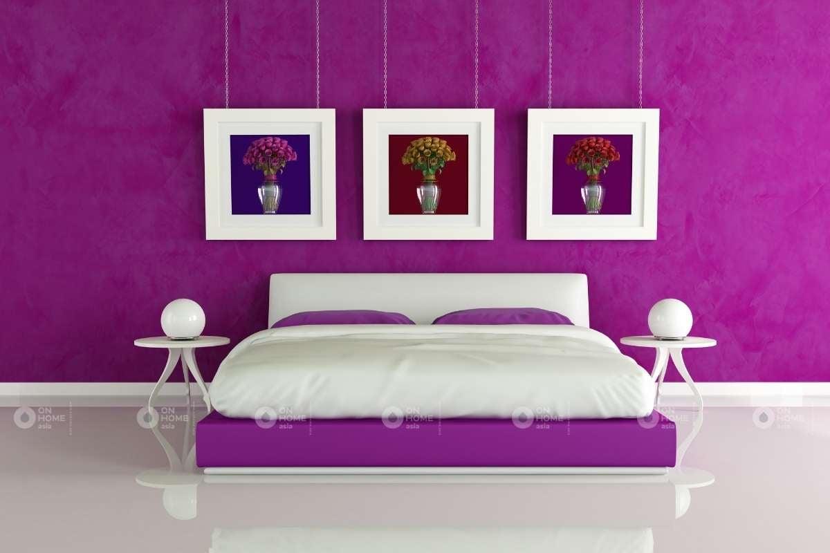 Trang trí phòng ngủ màu tím và màu trắng