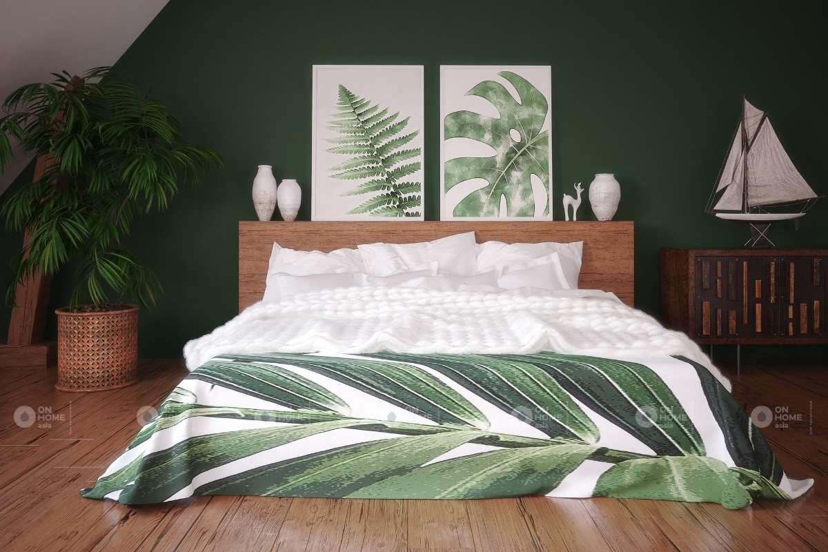 Trang trí phòng ngủ với gam màu xanh lá