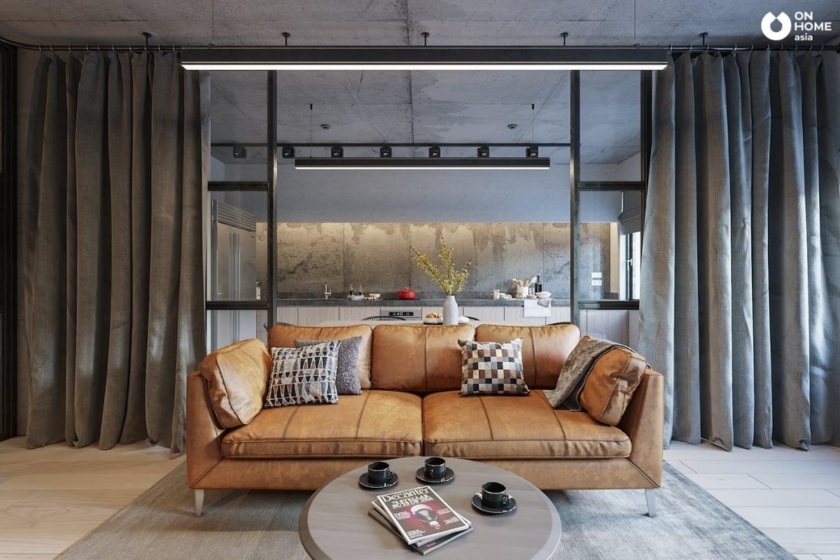 Nội thất căn hộ đẹp có sofa màu cam