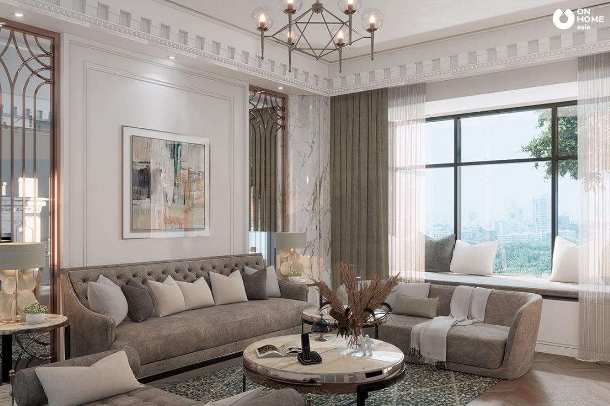 Phòng khách rộng có sofa