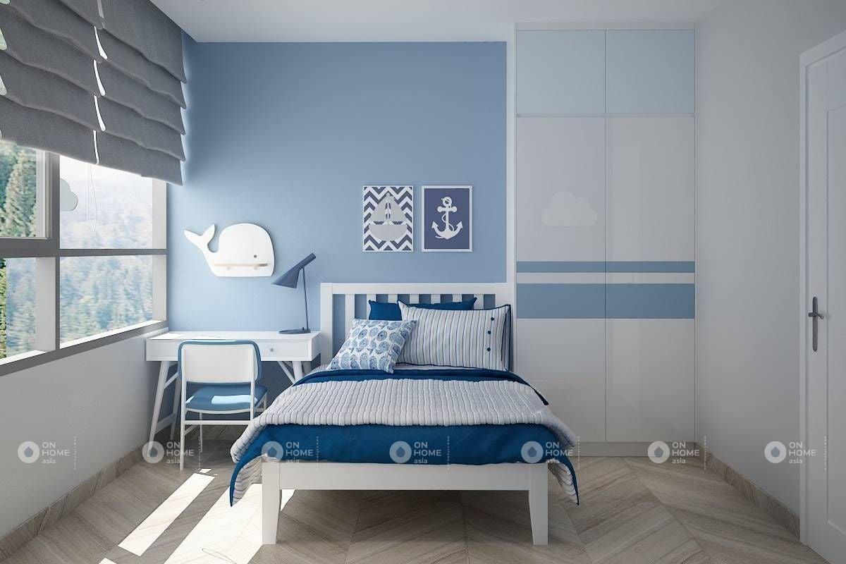 Sơn tường màu xanh dành cho bé trai