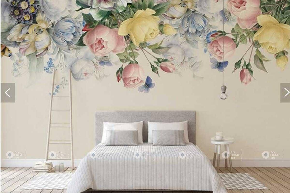 Vẽ tranh tường với họa tiết hoa