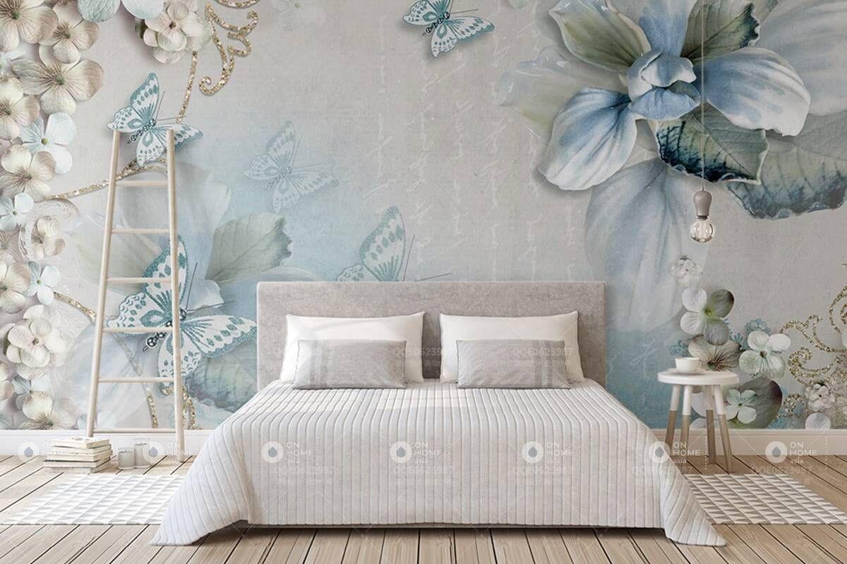 Vẽ tường với họa tiết hoa đẹp