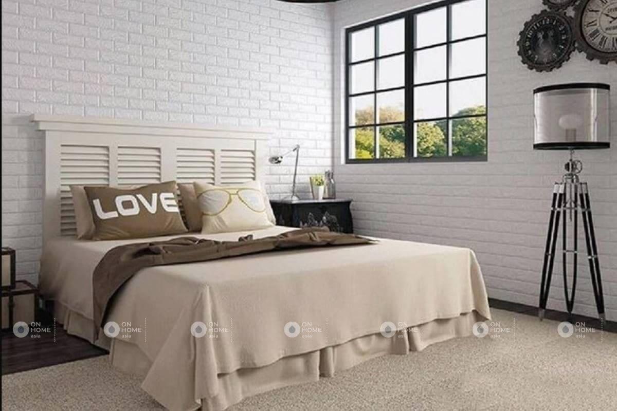 Xốp dán tường màu trắng dành cho phòng ngủ