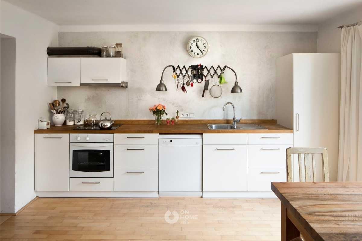 Tủ bếp chữ I màu trắng đơn giản