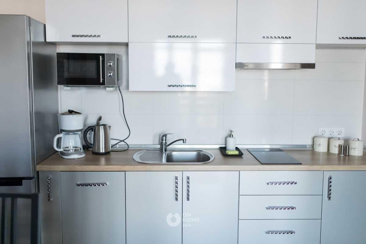 Tủ bếp chữ I màu xám tro đẹp