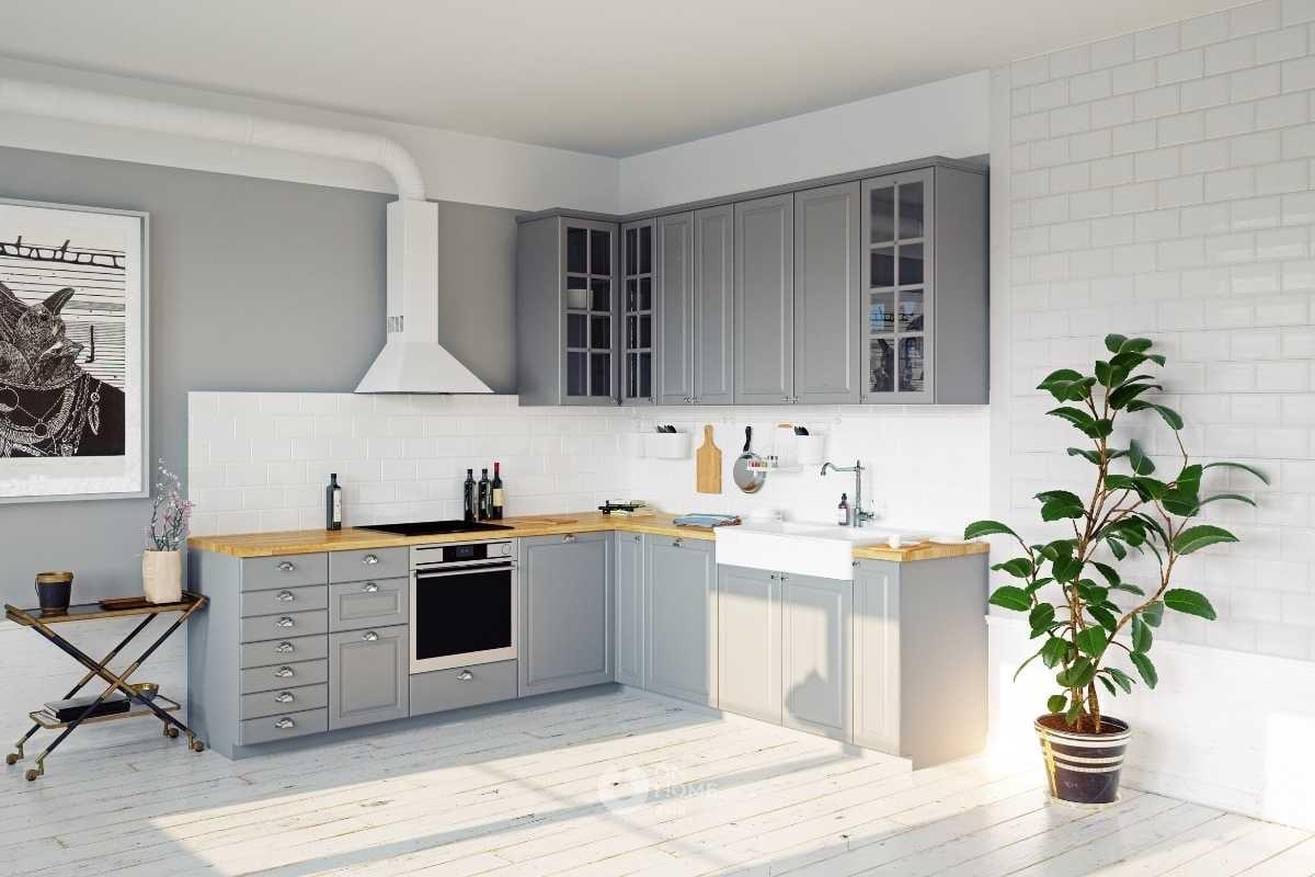 Tủ bếp chữ L đơn giản màu xám.