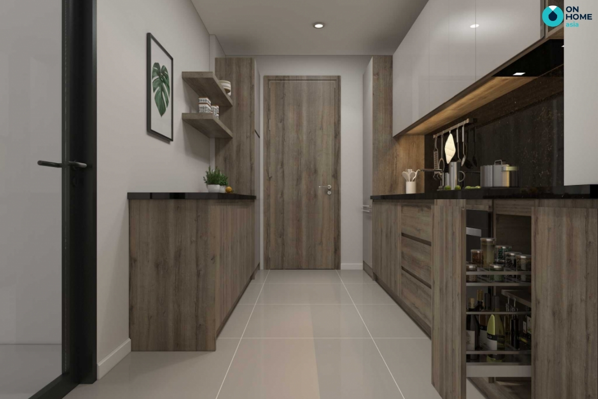 thiết kế bếp song song cho nội thất nhà bếp