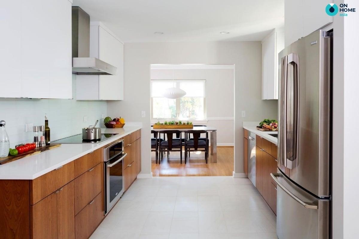 tủ bếp song song phù hợp với không gian bếp nhỏ