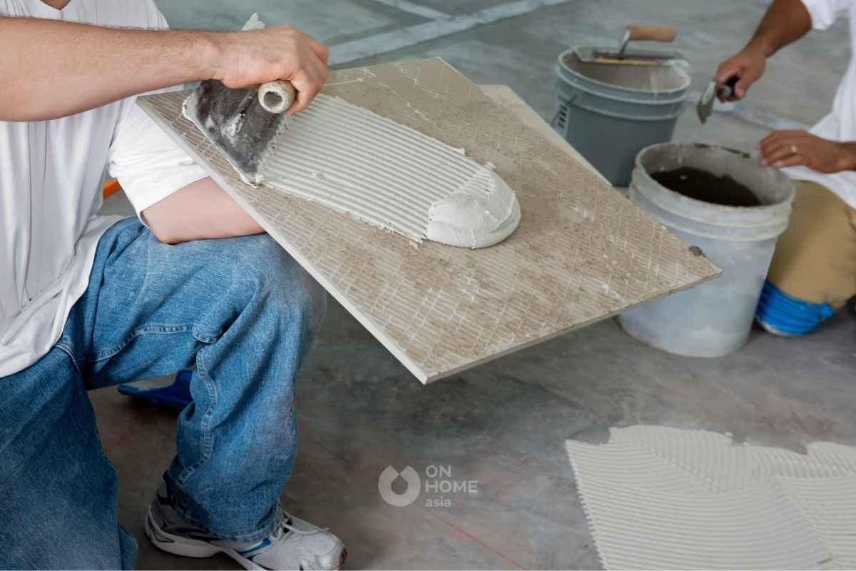 Gạch Porcelain có viền xương trắng.