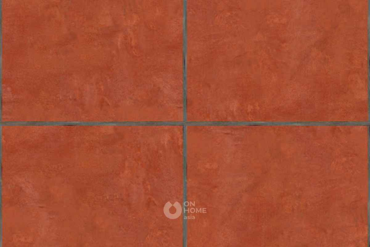 Lát sàn bằng gạch tàu đơn giản.