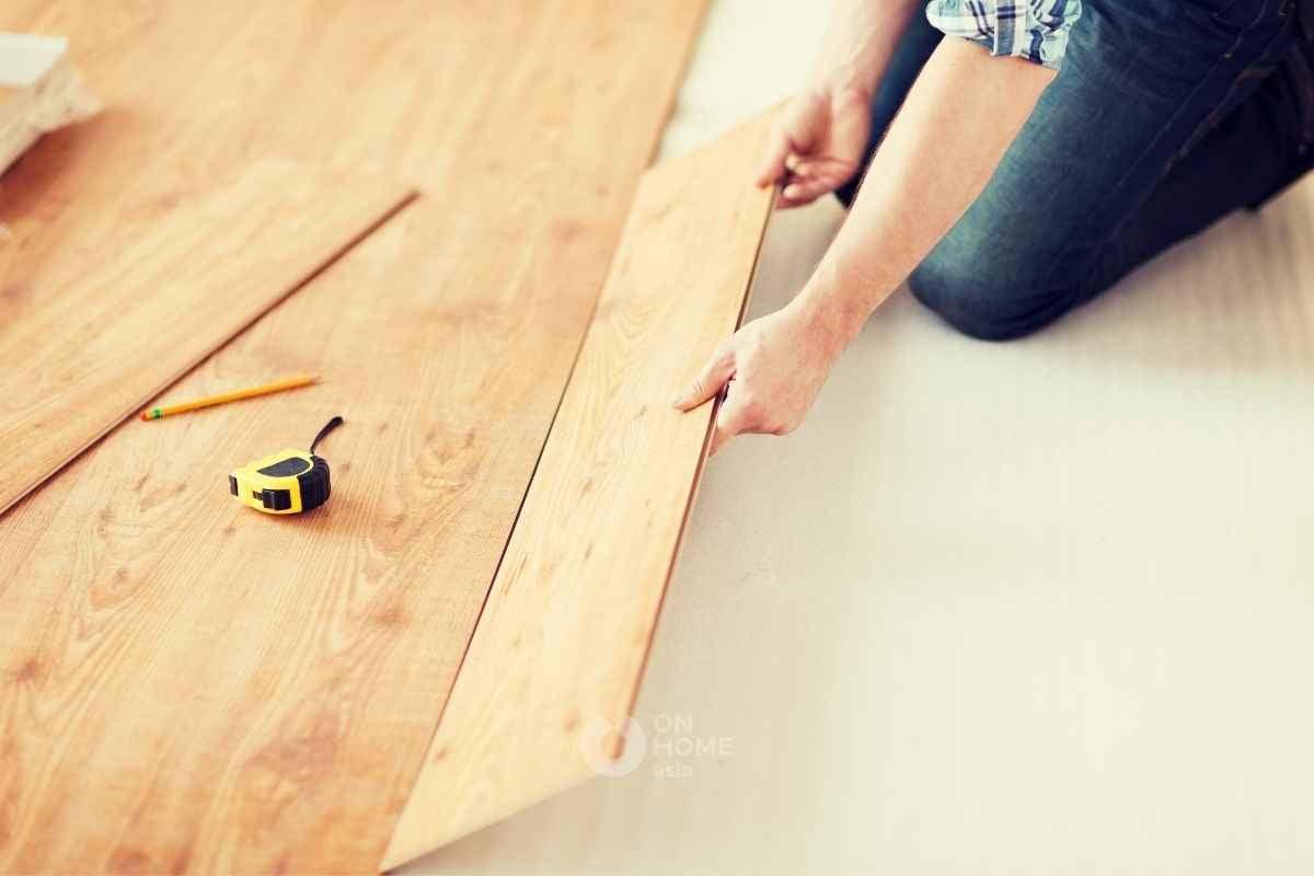 Sàn nhựa giả gỗ cho phòng chức năng.