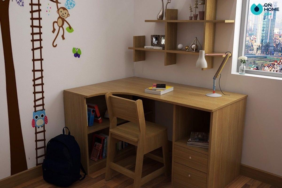 bàn học gỗ công nghiệp đơn giản