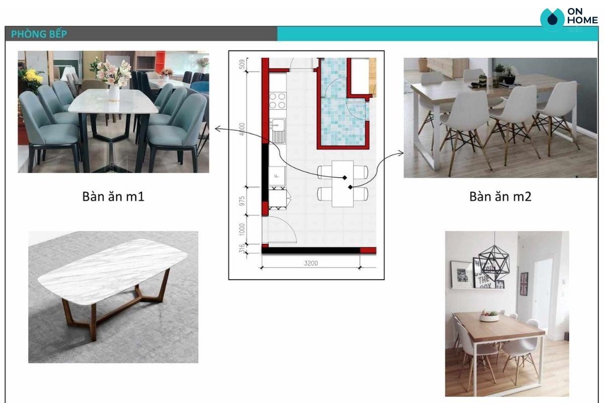 Bản thiết kế 2D, concept nội thất phòng bếp