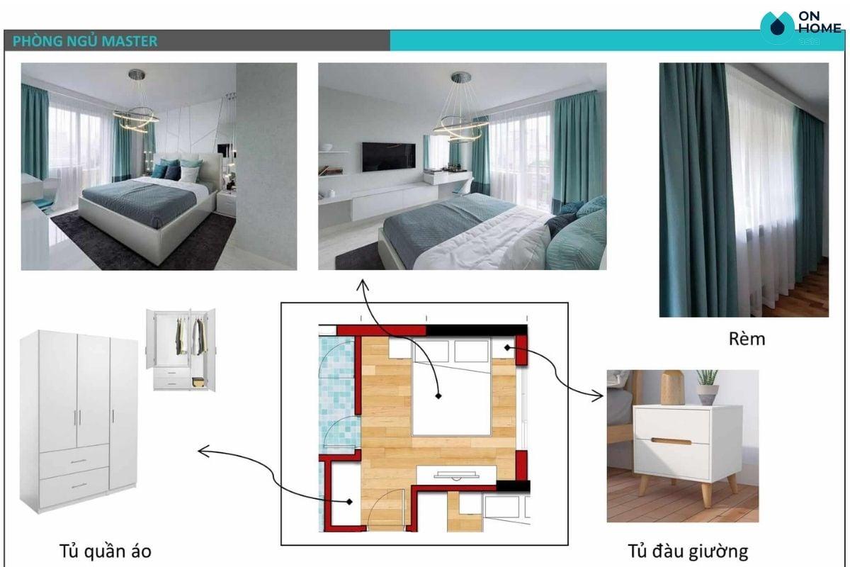 Bản thiết kế 2D, concept nội thất phòng ngủ master