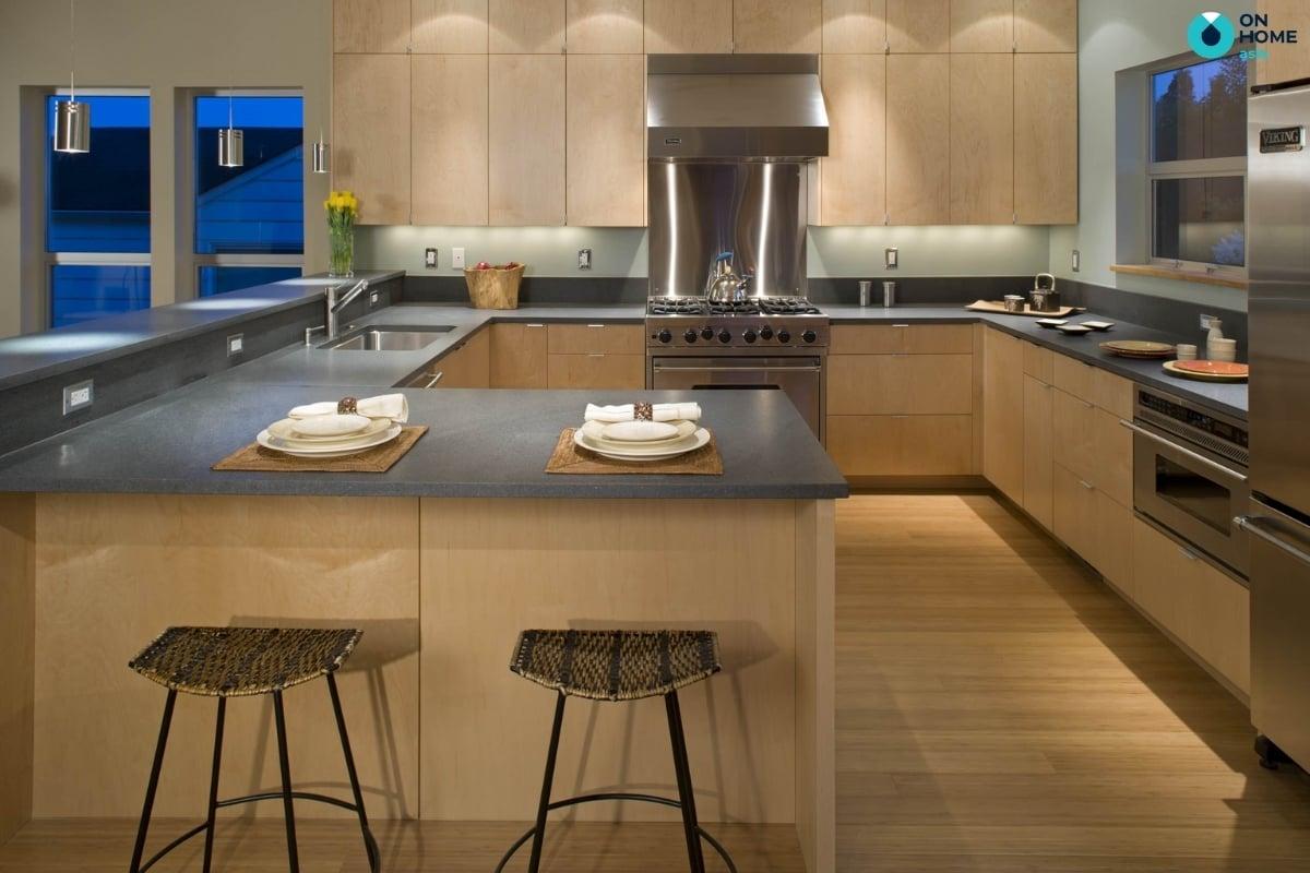 tủ bếp chữ g đem lại không gian bếp đẹp và sang trọng