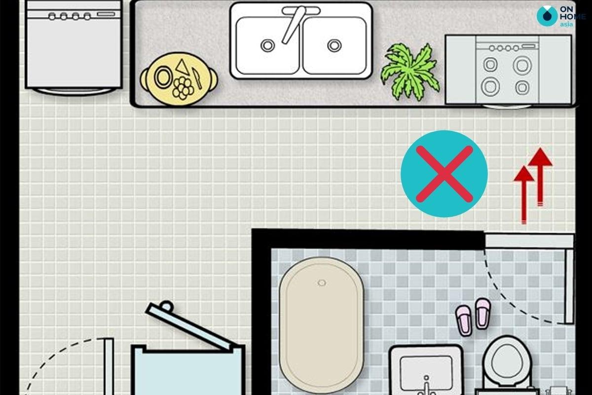 không đặt bếp đối diện nhà vệ sinh