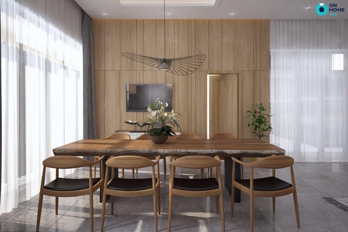 phòng bếp với đèn thả trần đơn giản
