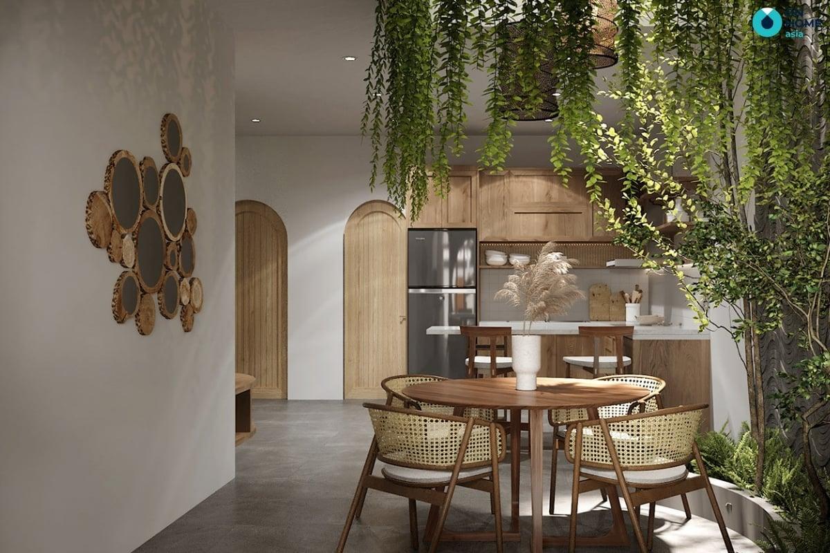nhà bếp với không gian màu xanh lam