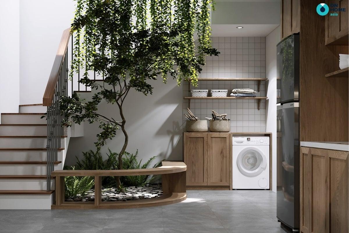 phòng bếp có thiết kế không gian xanh