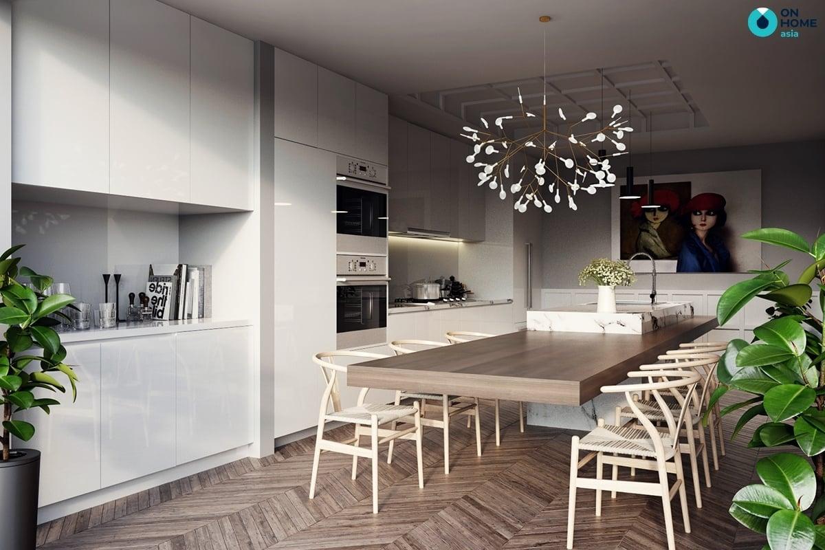 phòng bếp có bàn ăn rộng rãi