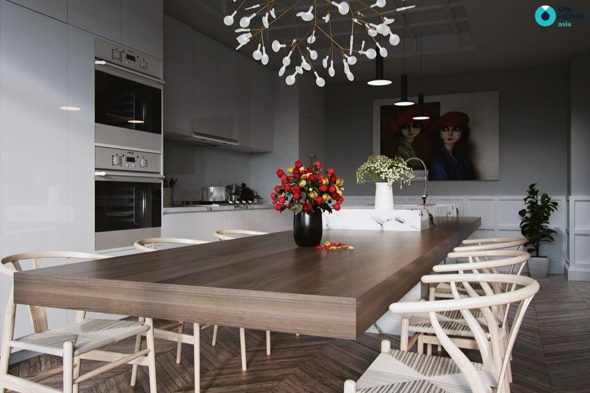 thiết kế bàn ăn rộng lớn cho nhà bếp