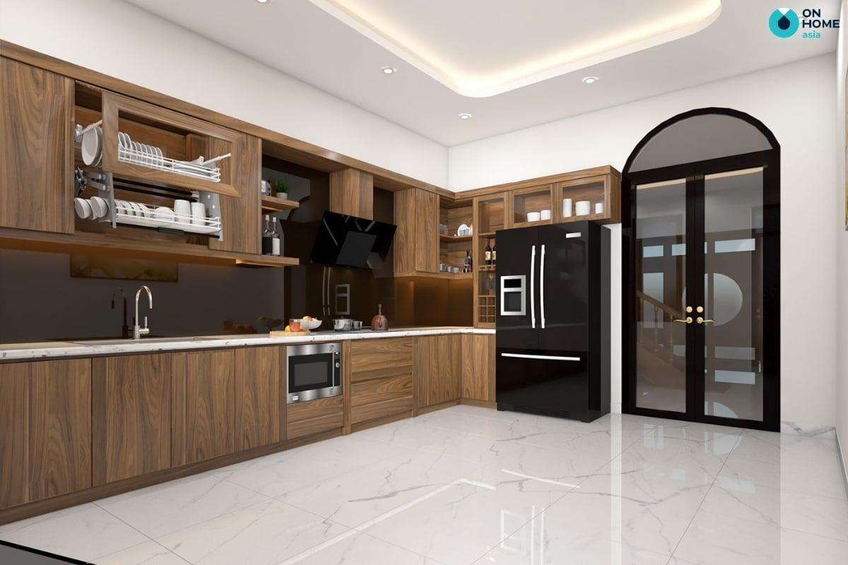 phòng bếp có thiết kế tủ gỗ tự nhiên