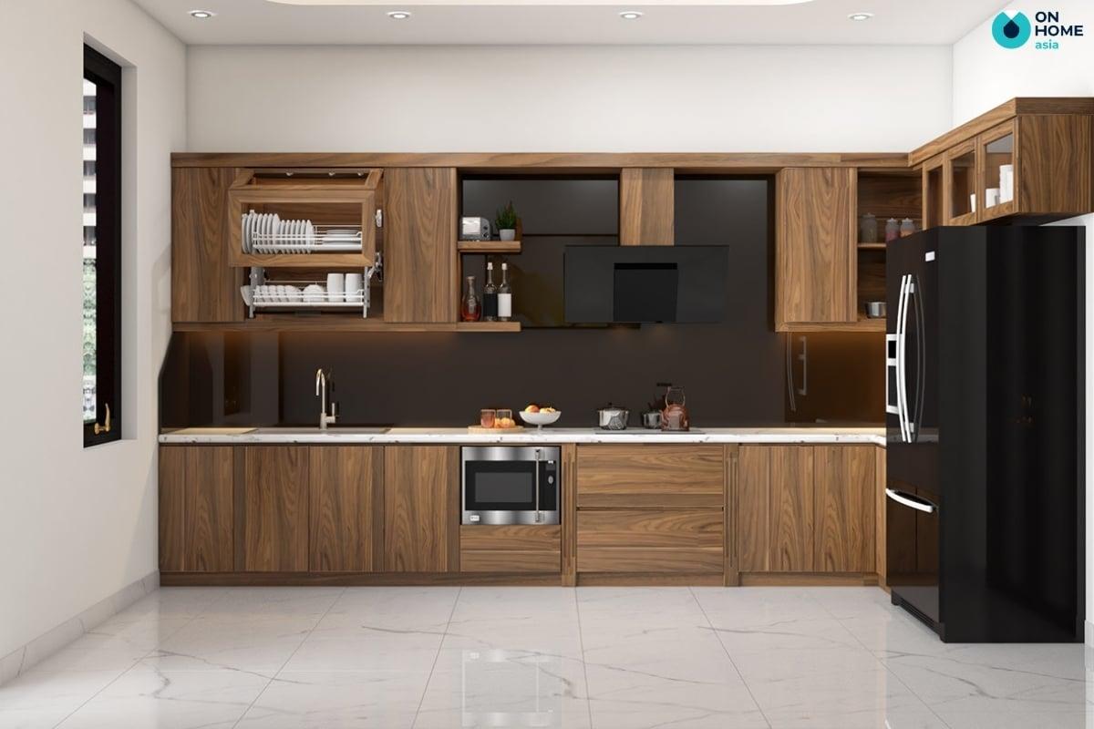 nhà bếp bằng gỗ tự nhiên