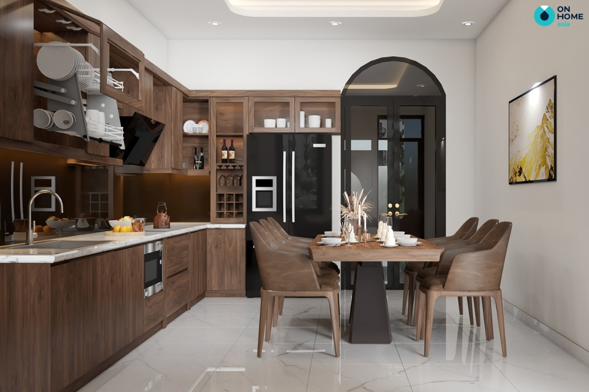 phòng bếp với tủ bếp gỗ tự nhiên
