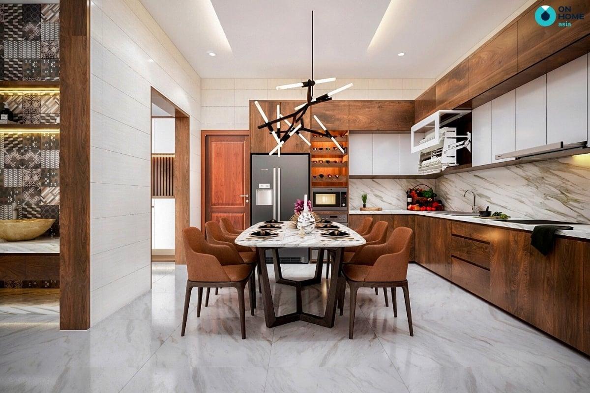phòng bếp nhà phố làm từ gỗ