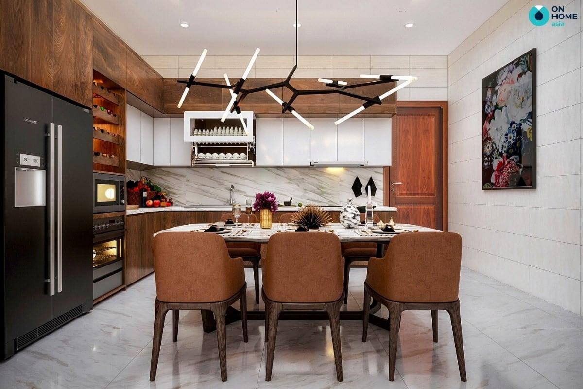 phòng bếp nhà phố có thiết kế gỗ