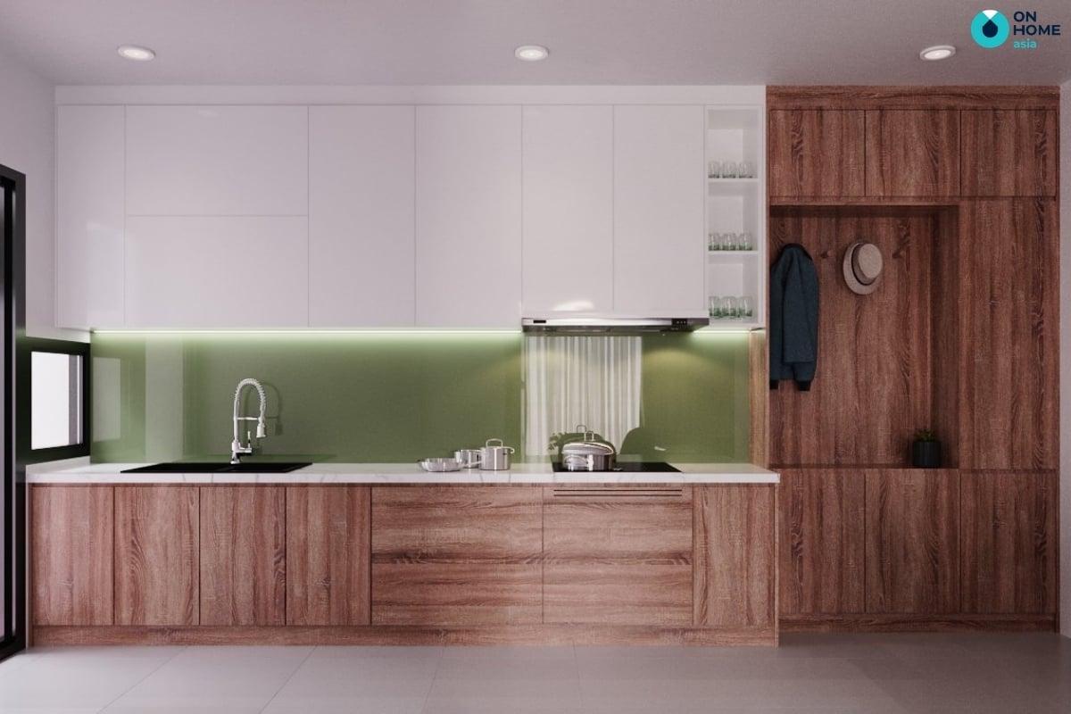 tủ bếp gỗ tự nhiên tại căn hộ compass one