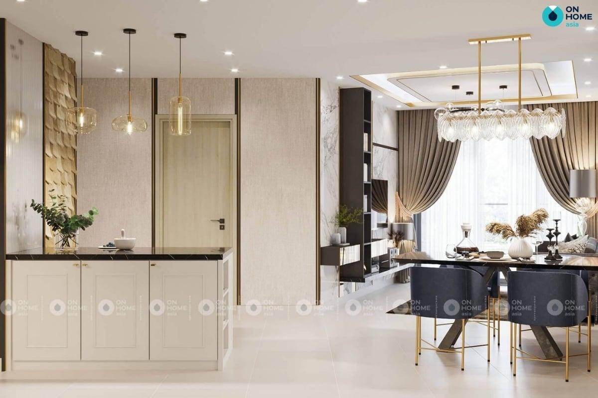 nội thất phòng bếp căn hộ compass one mang đến không gian sang trọng