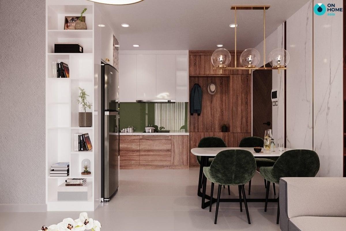 phòng bếp gỗ tự nhiên tại căn hộ compass one