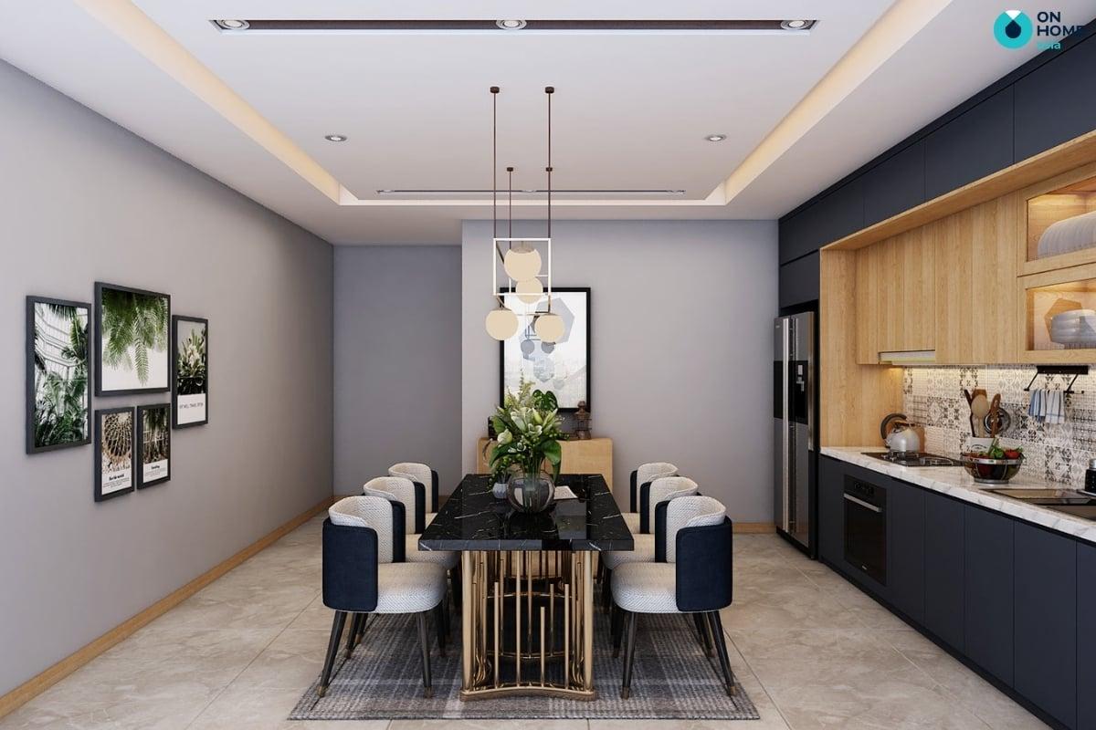 phòng bếp với màu xanh navy
