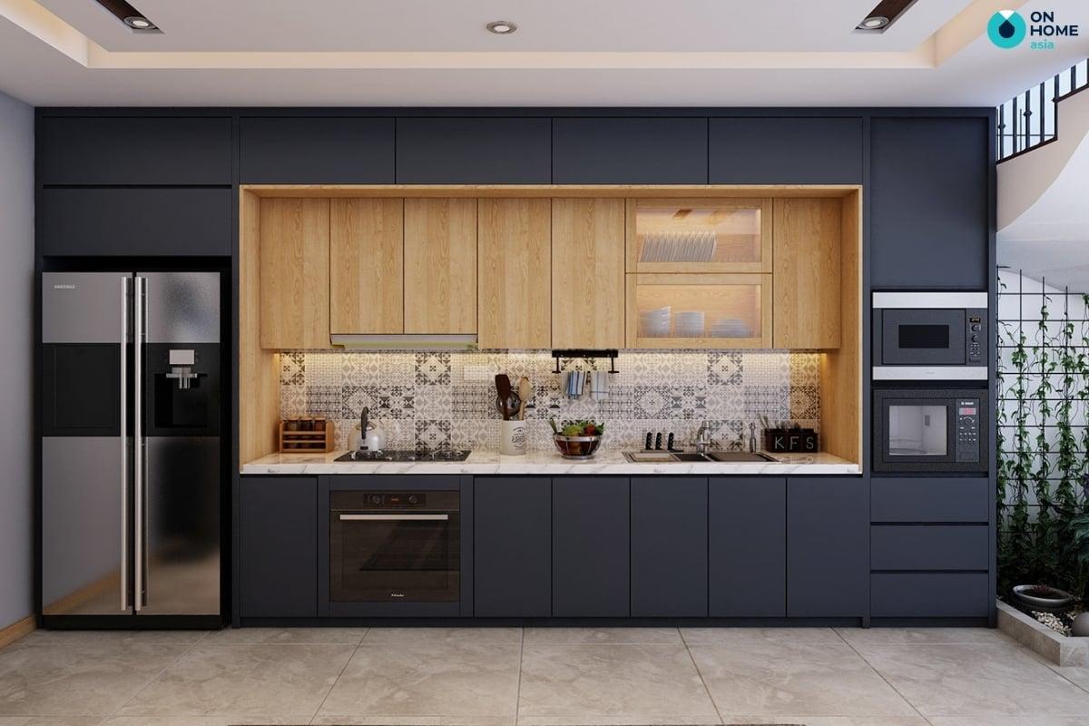 tủ bếp màu xanh navy đẹp