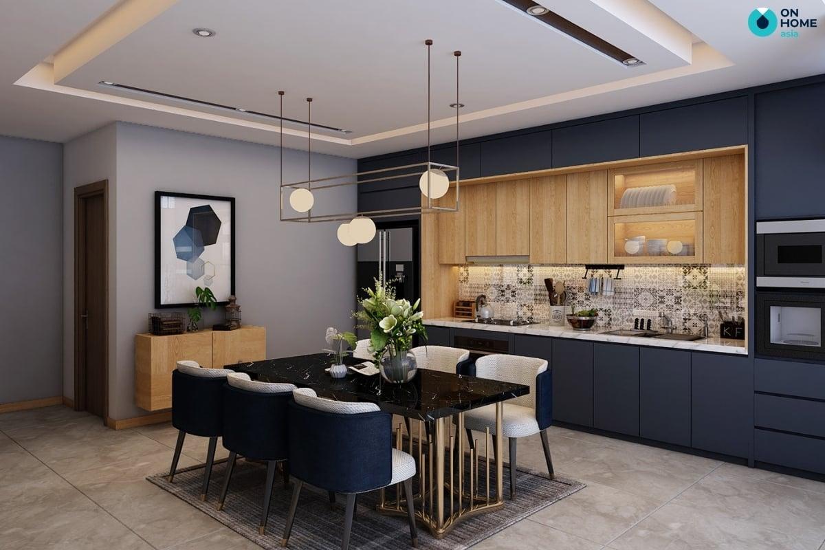 thiết kế nhà bếp tone màu xanh navy