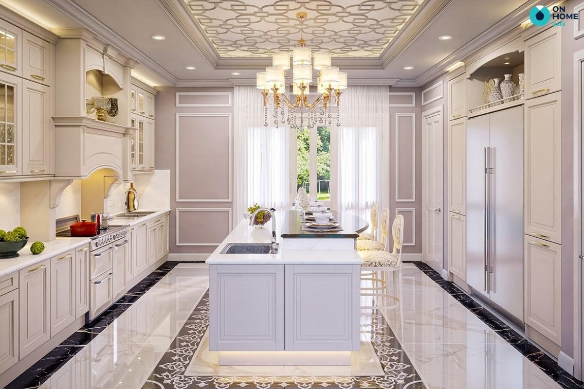 phong bếp biệt thự cổ điển