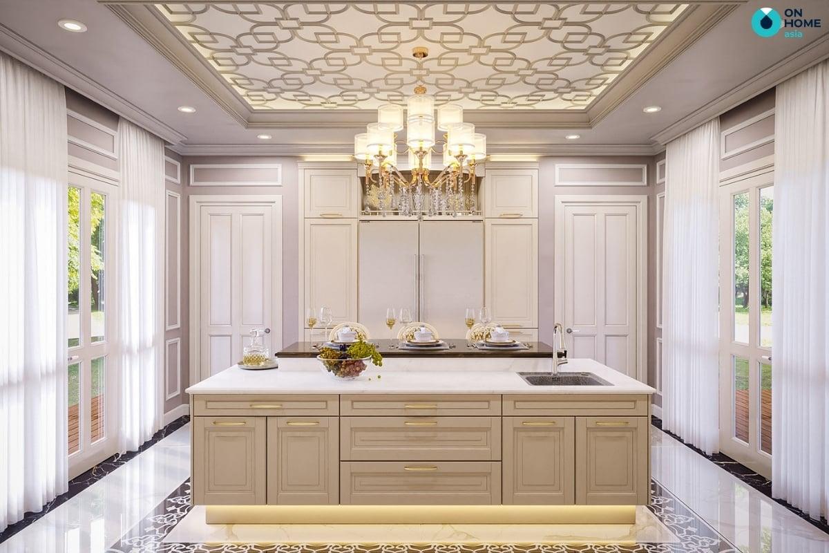 nhà bếp biệt thự cổ điển