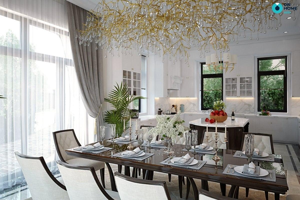 thiết kế nhà bếp với nội thất ánh kim