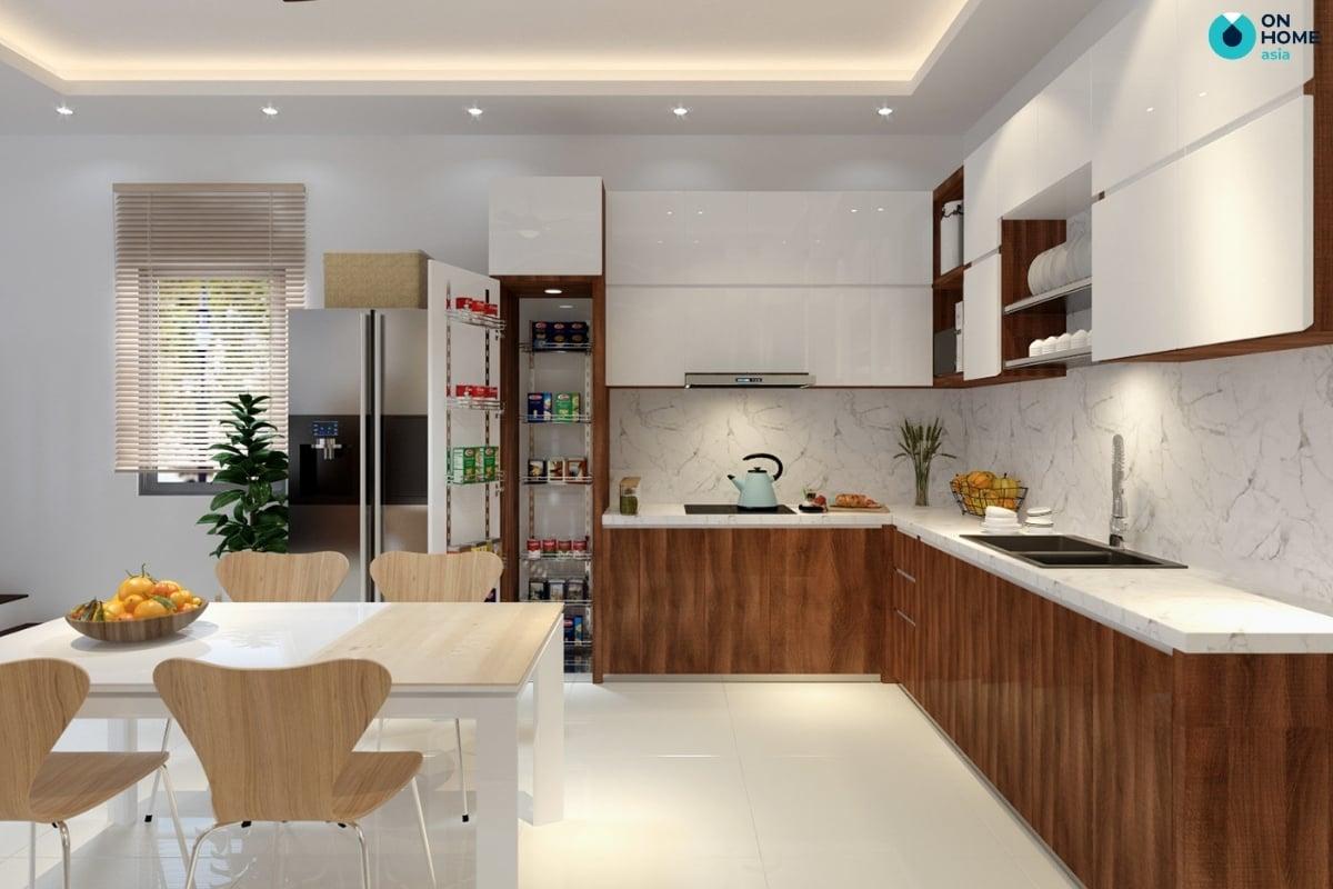 phòng bếp nhà phố tiện nghi