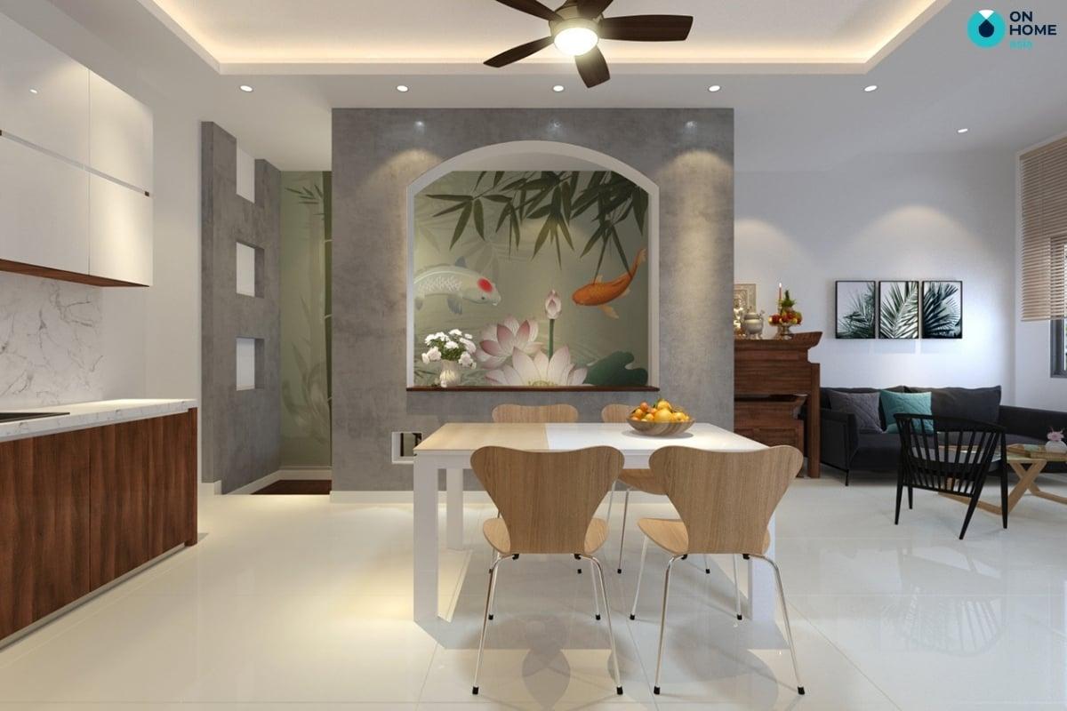 phòng bếp nhà phố đơn giản