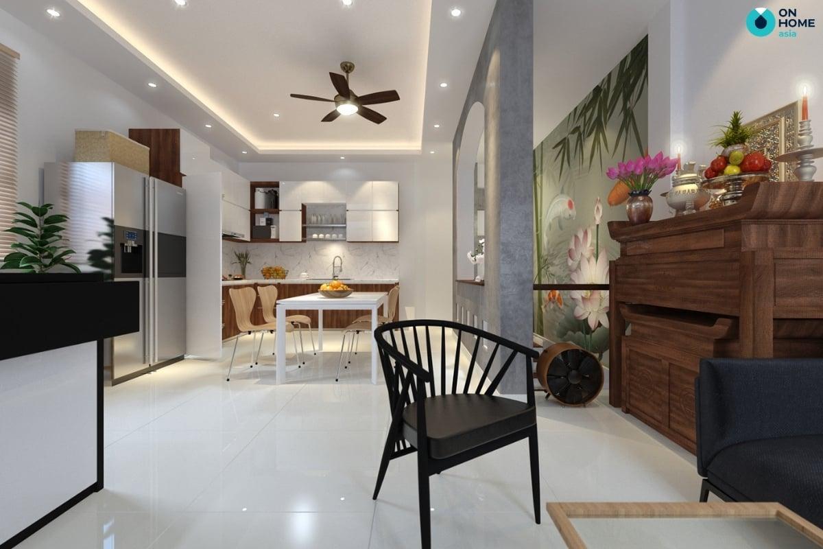 phòng bếp nhà phố đơn giản và tiện nghi