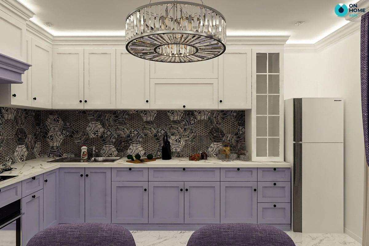 trang trí màu tím cho nội thất phòng bếp