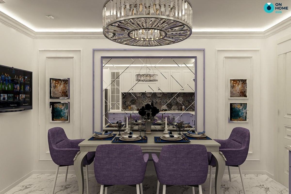 nội thất nhà bếp biệt thự màu tím