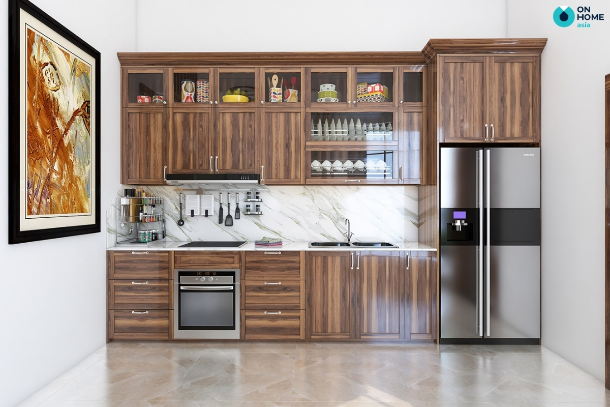 thiết kế tủ bếp bằng gỗ tự nhiên