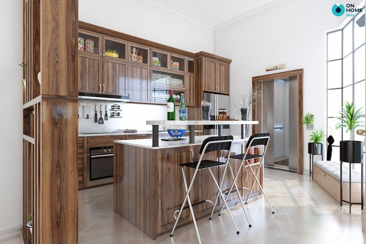 nội thất nhà bếp biệt thự với quầy bar